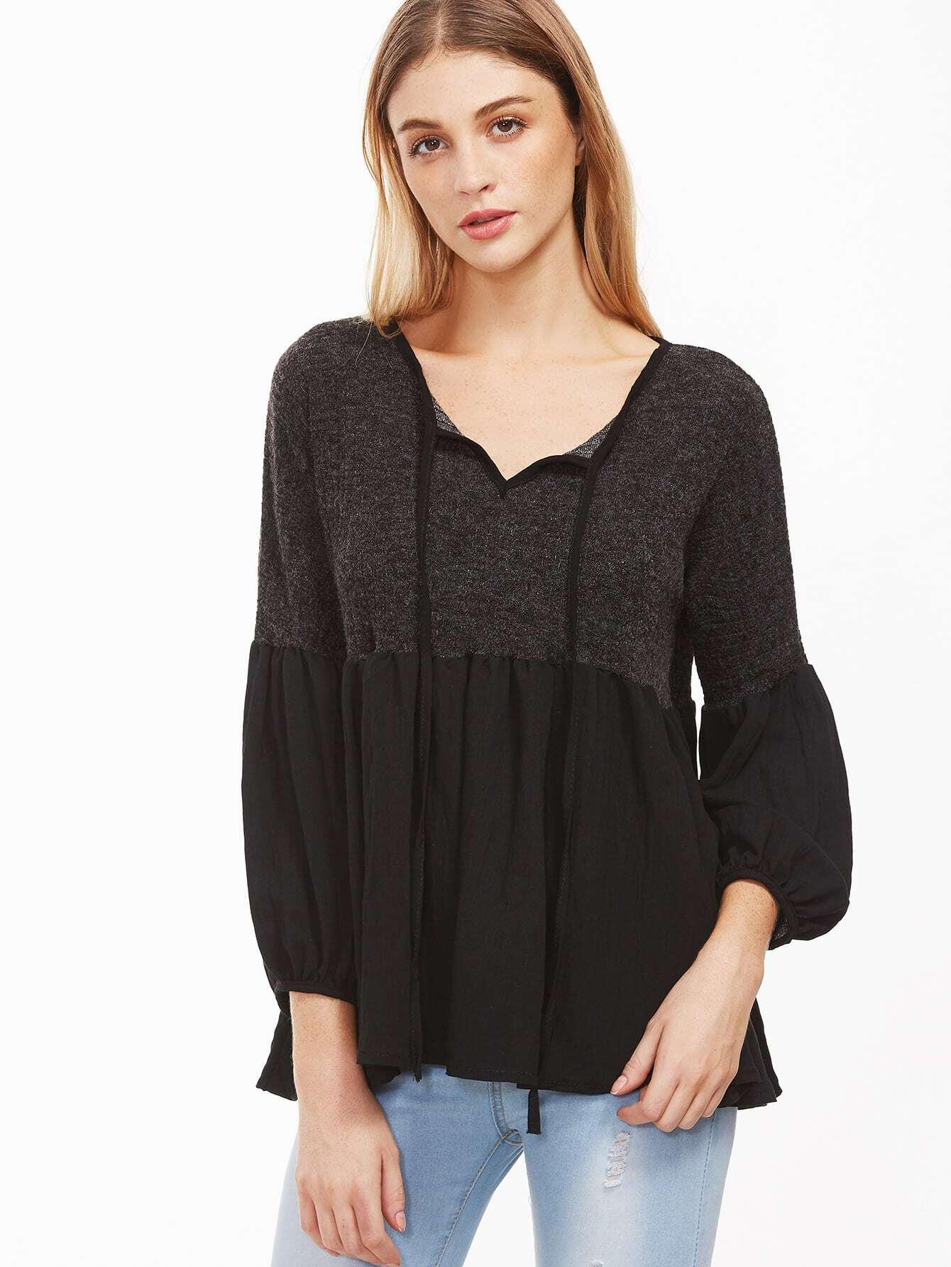 Купить Чёрная модная блуза с контрастным подолом, Nathane, SheIn