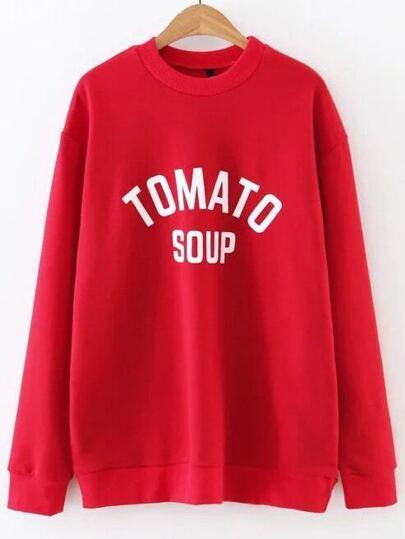 Red Letter Print Crew Neck Sweatshirt
