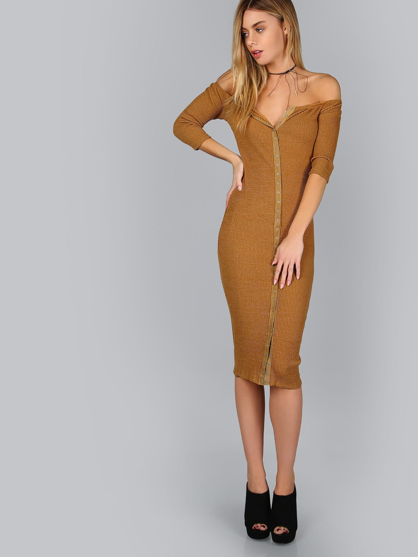 Brown Button Up Off The Shoulder Ribbed Dress dressmmc161024701
