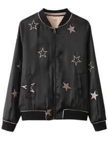 Black Star Embroidery Reversible Jacket