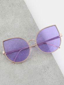 Metallic Frame Teardrop Sunglasses PURPLE