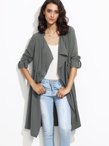 Grey Drape Collar Roll Sleeve Drawstring Wrap Coat