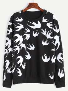 Black Peace Doves Print Sweatshirt
