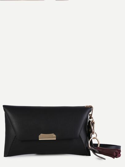 Black Faux Leather Tassel Trim Envelope Bag