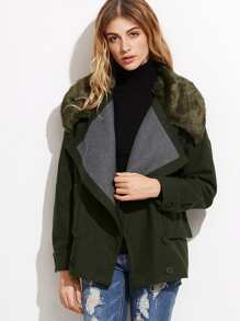 Contrast Faux Fur Collar Double Breasted Jacket