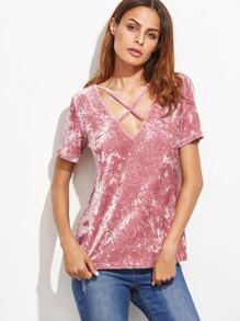 Pink Crushed Velvet Crisscross V Neck T-shirt