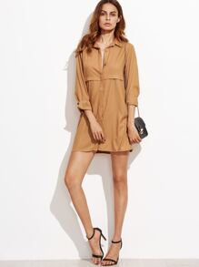 Camel Button Front Long Sleeve Shirt Dress
