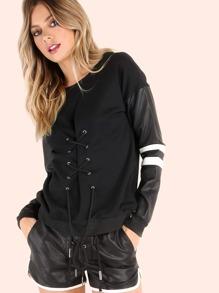 Sweat-shirt à lacets en faux cuir manche longue -noir