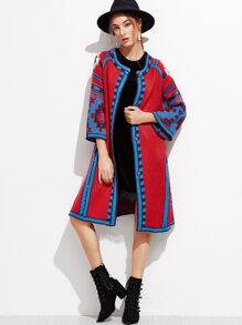 Red Geometric Print Hidden Button Sweater Coat