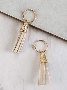 Suede Fringe Dangle Earrings BEIGE