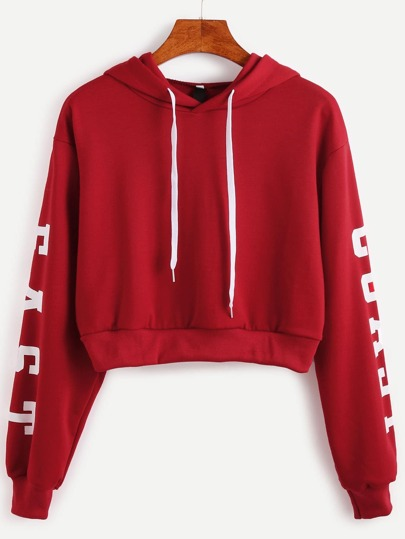 Burgundy Hooded Letters Print Crop Sweatshirt