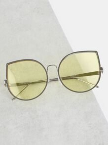 Metallic Oversized Vintage Sunglasses GREEN