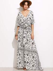 White Printed Self Tie Split Side Maxi Dress