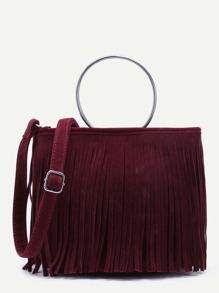 Maroon Faux Suede Metal Ring Fringe Crossbody Bag
