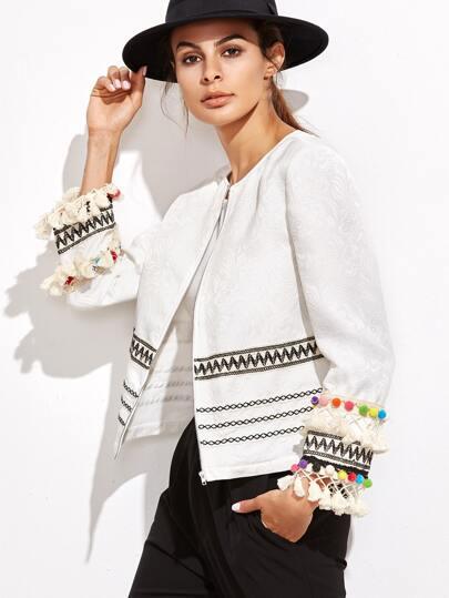 White Embroidered Tape And Pom Pom Trim Jacquard Blazer