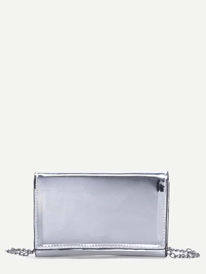 Metallic Silver PU Flap Chain Bag