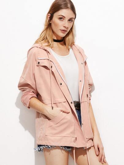Pink Hidden Zip Drawstring Hem Hooded Jacket