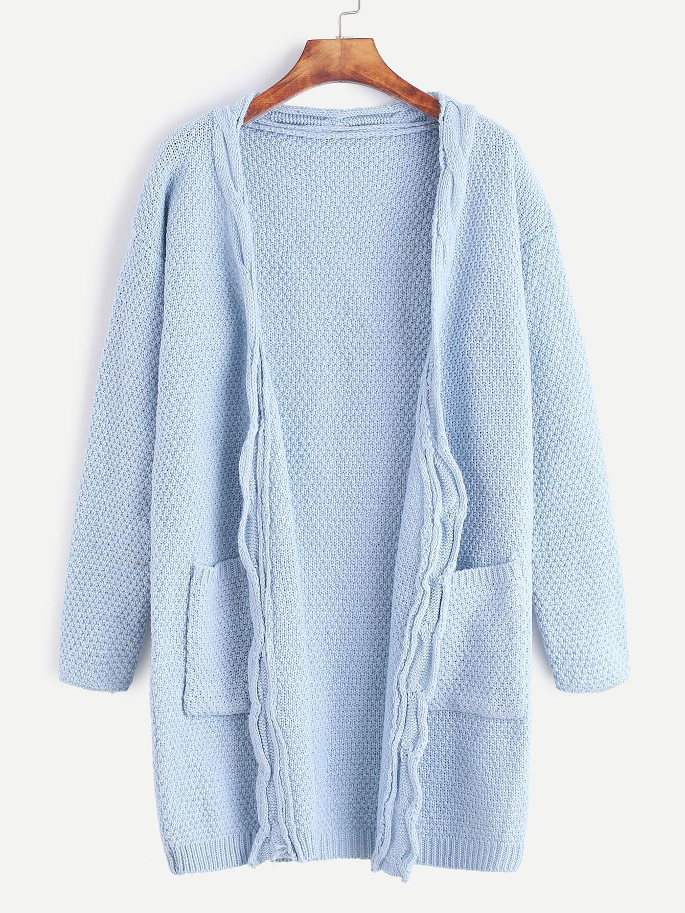 Blue Open Front Long Sweater Coat With Pockets sweater161027332
