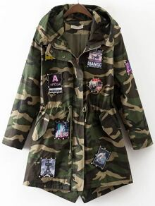 Army Green Camouflage Patch Detail Drawstring Waist Coat