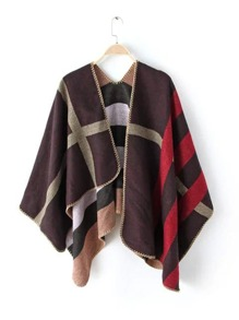 Colorblock Plaid Asymmetrical Shawl Scarf