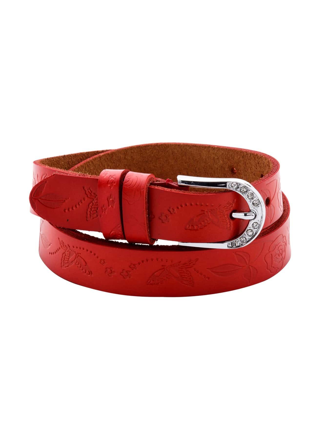 Red Metal Buckle Knurling BeltRed Metal Buckle Knurling Belt<br><br>color: Red<br>size: None