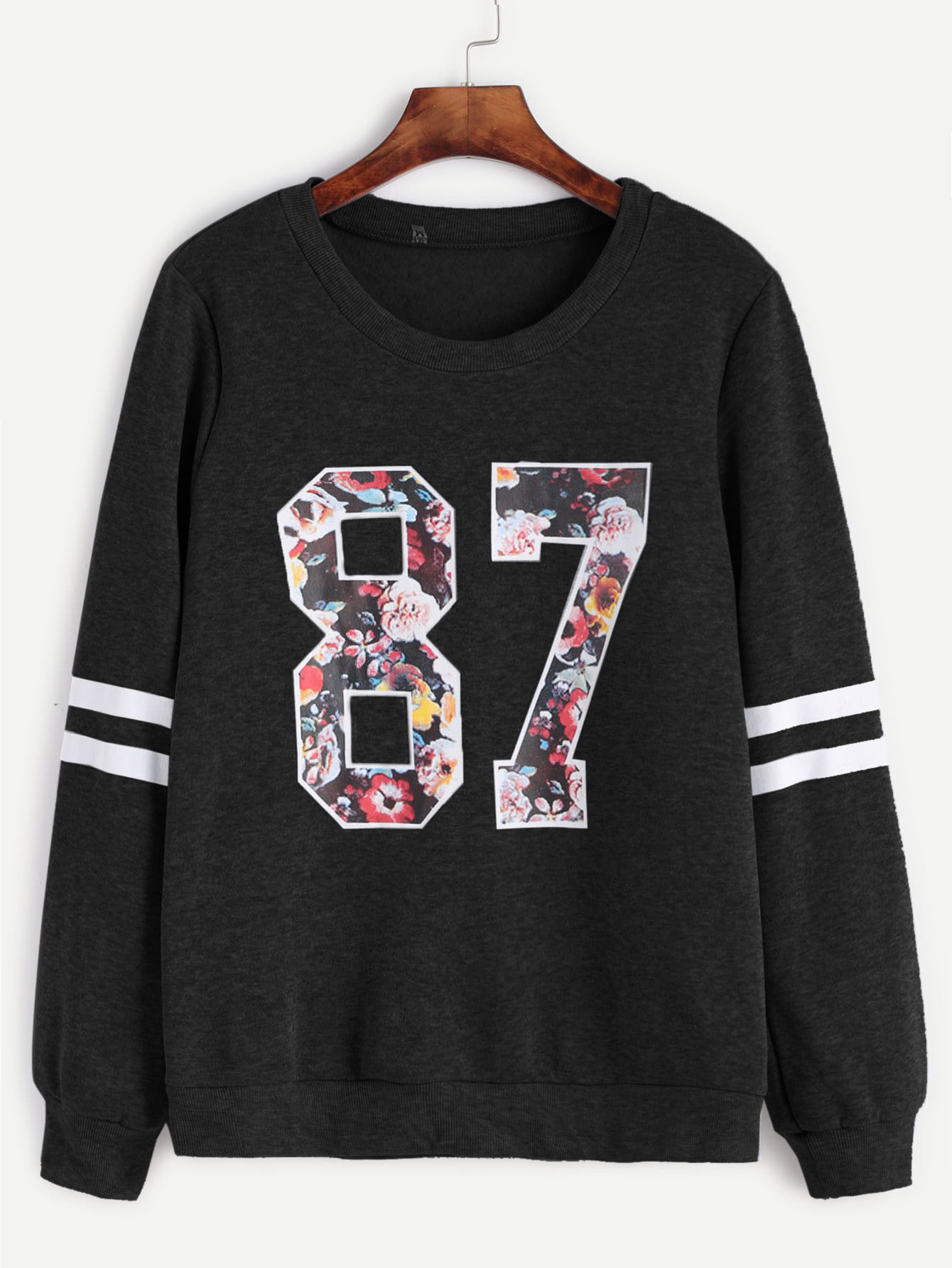 Varsity Print Stripe Sleeve Sweatshirt crew neck graphic print long sleeve varsity stripe sweatshirt