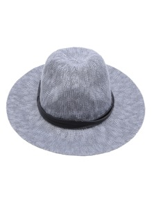 Grey Faux Leather Band Braided Fedora Hat