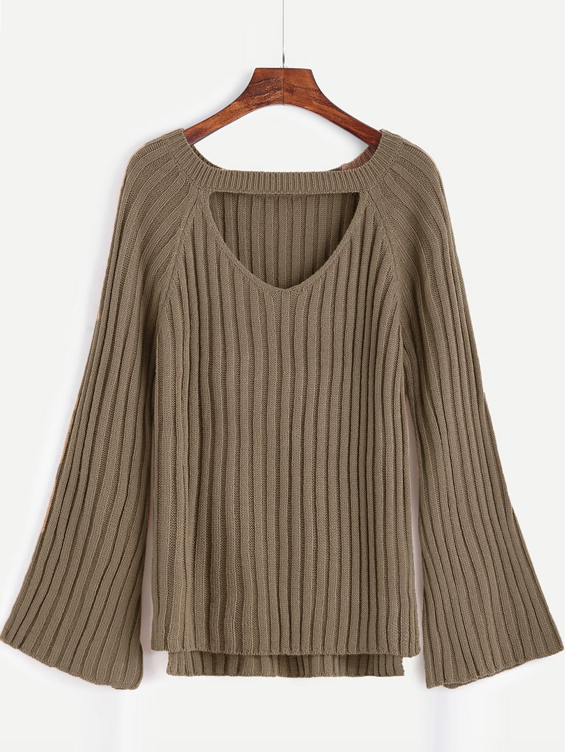Khaki Cutout Front High Low SweaterKhaki Cutout Front High Low Sweater<br><br>color: Khaki<br>size: one-size