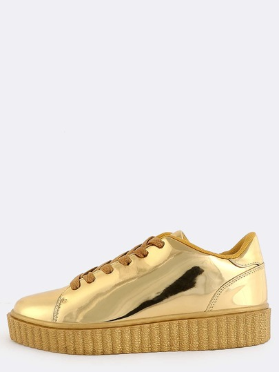 Metallic Thick Sole Sneakers GOLD