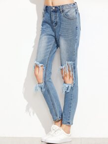 Blue Knee Ripped Skinny Jeans