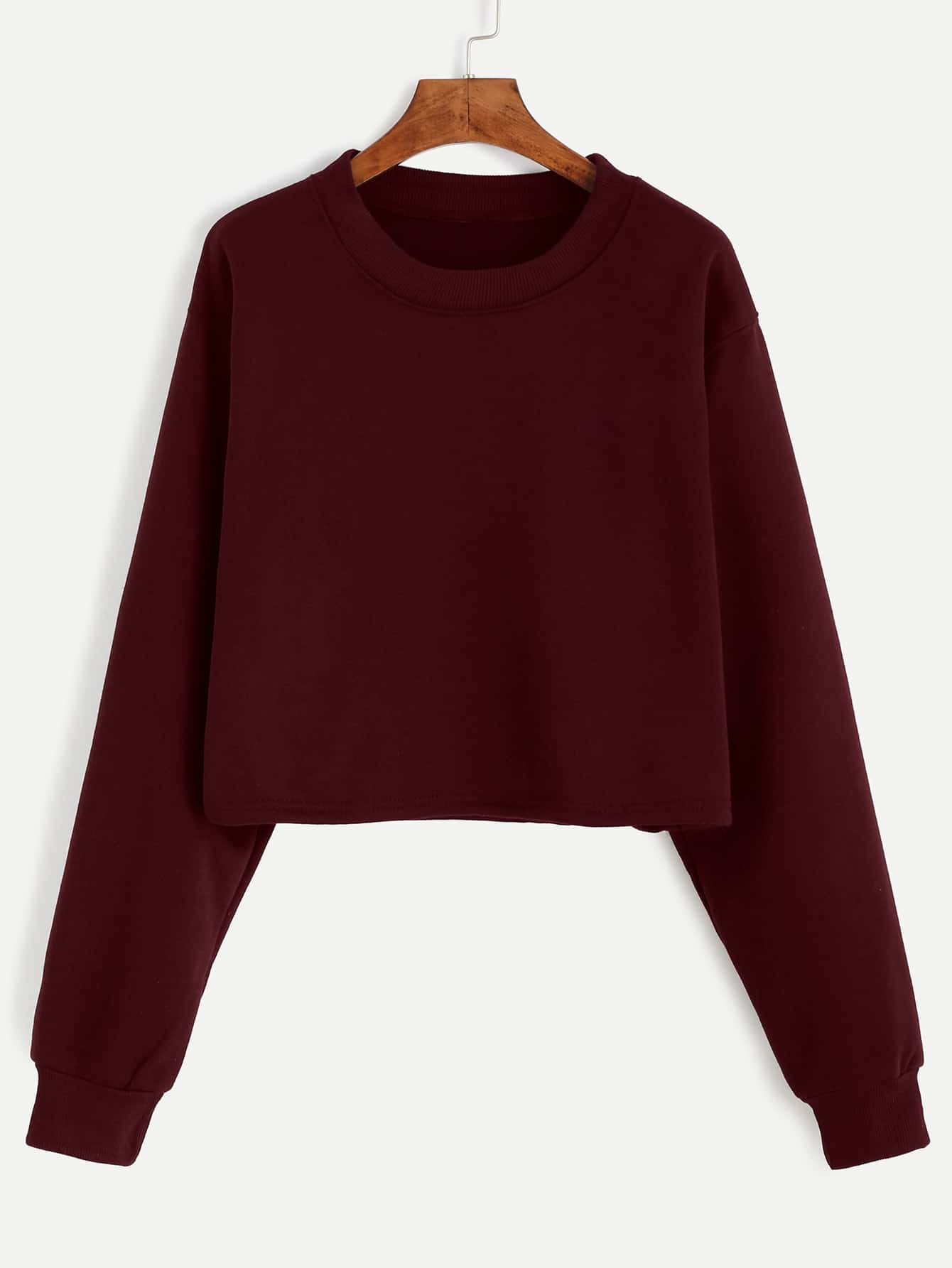 Burgundy Drop Shoulder Crop Sweatshirt drop shoulder plain distressed crop sweatshirt