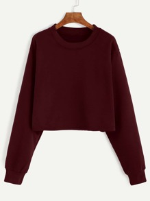 Burgundy Drop Shoulder Crop Sweatshirt