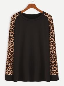 Contrast Leopard Print Raglan Sleeve T-shirt