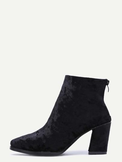 Diamond Velvet Black Point Toe Chunky Heel Booties