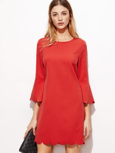 Red Scallop Trim Bell Cuff Dress