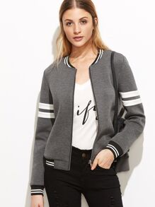 Striped Trim Zipper Up Bomber Jacket