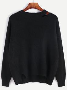Black Drop Shoulder Seam Distressed Sweater