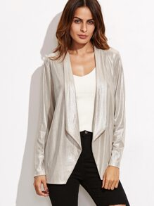 Metallic Shawl Collar Open Front Blazer