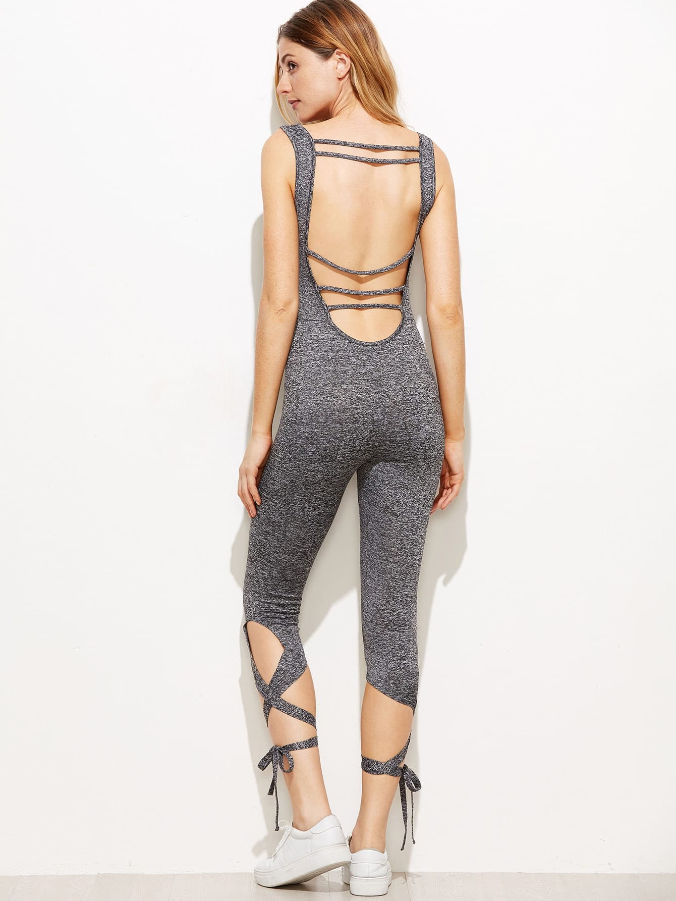 Marled Strappy Open Back Lace Up Hem Skinny Jumpsuit silver sequins embellished open back lace up top