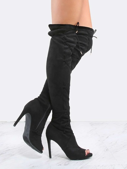 Peep Toe Suede Lace Up Thigh Boots BLACK
