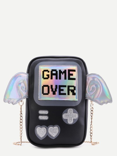 Black Game Console Chain Bag With Wings