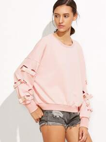Pink Drop Shoulder Ripped Sweatshirt With Bow Tie Detail