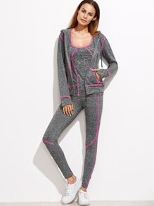 Hot Pink Contrast Trim 3 Pics Sports Suit