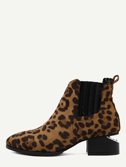 Leopard Faux Suede Point Toe Elastic Ankle Boots