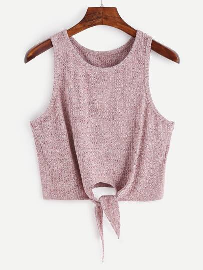 Marled Tie Front Ribbed Crop Tank Top