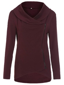 Burgundy Cowl Neck Asymmetric Zip Coat