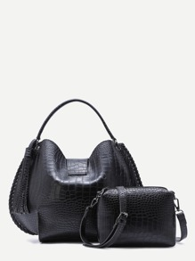 Black Croc Embossed PU Tassel Tote Bag With Crossbody
