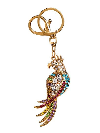 Gold Plated Colored Rhinestone Parrot Keychain