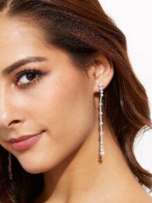 Silver Chain Rhinestone Drop Earrings