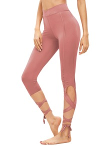 Peach Hollow Tie Skinny Leggings